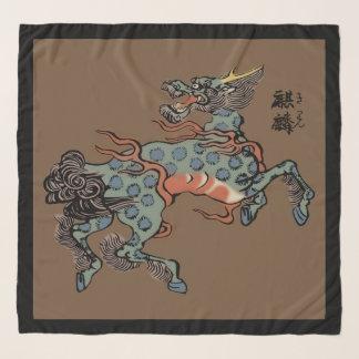 ブラウンのヴィンテージの中国語Qilin スカーフ