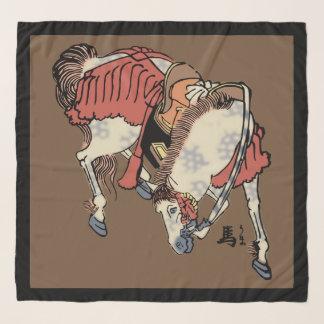 ブラウンのヴィンテージの日本のな馬 スカーフ