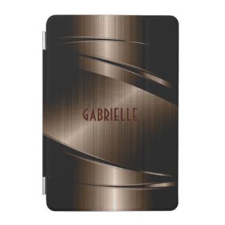 ブラウンの光沢がある金属ブラシをかけられたアルミニウム一見 iPad MINIカバー