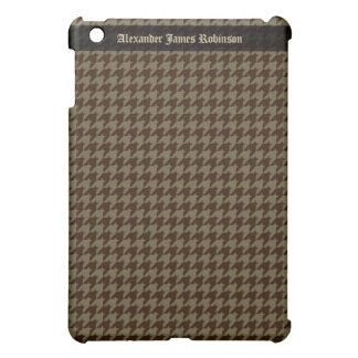 ブラウンの千鳥格子のなハンサムな紳士のパターン iPad MINIカバー