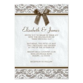ブラウンの国のレースの結婚式招待状 カード