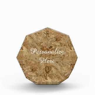 ブラウンの大理石の化石の一見 表彰盾