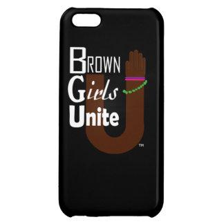 ブラウンの女の子は携帯電話の箱を結合します iPhone5Cケース