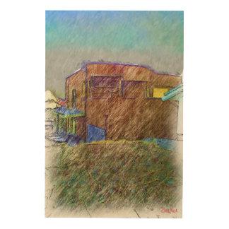 ブラウンの家のスケッチ ウッドウォールアート