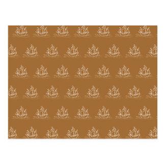 ブラウンの帆船パターン ポストカード