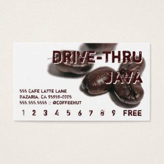 ブラウンの文字のコーヒー豆の飲み物のパンチカード 名刺