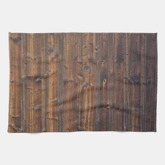 ブラウンの木製の壁の構造 キッチンタオル