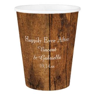 ブラウンの模造ので素朴な納屋の木製の国の結婚式 紙コップ