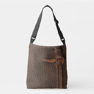 ブラウンの模造のな革か革結び目-トートバック クロスボディバッグ