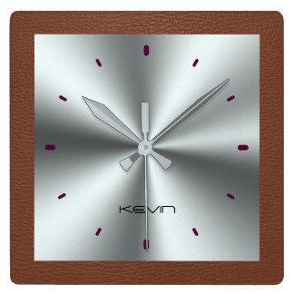 ブラウンの模造のな革及び金属ステンレス鋼 スクエア壁時計