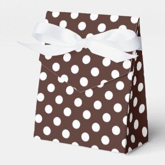 ブラウンの水玉模様のカスタマイズ可能な白 フェイバーボックス