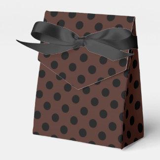 ブラウンの水玉模様のカスタマイズ可能な黒 フェイバーボックス