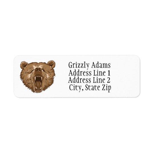 ブラウンの灰色グマの差出人住所ラベル 返信用宛名ラベル