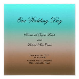 ブラウンの熱帯結婚式プログラムへのターコイズ 13.3 スクエアインビテーションカード