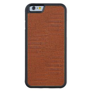 ブラウンの現実的なわに皮の一見 CarvedメープルiPhone 6バンパーケース