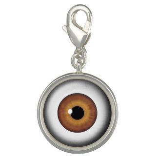 ブラウンの眼球のアイリス目のおもしろいのカッコいいの円形のチャーム チャーム
