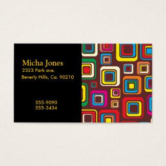 ブラウンの素晴しい70sタイルパターン正方形 名刺