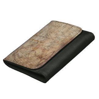 ブラウンの素朴なグランジで旧式な世界、革財布 ウォレット