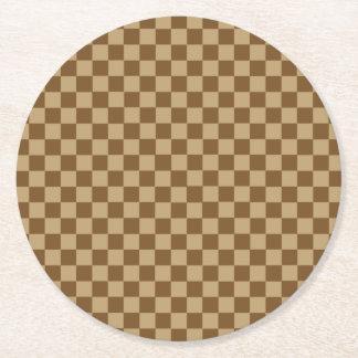 ブラウンの組合せのクラシックのチェッカーボード ラウンドペーパーコースター