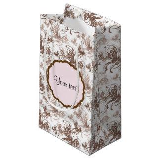 ブラウンの美しい渦巻形のな蝶 スモールペーパーバッグ