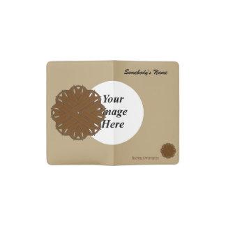 ブラウンの花のリボンのテンプレート ポケットMoleskineノートブック