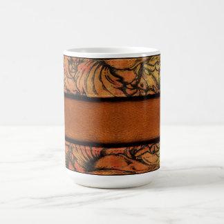 ブラウンの花柄の革 コーヒーマグカップ
