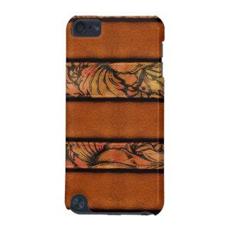 ブラウンの花柄の革 iPod TOUCH 5G ケース