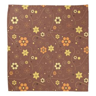 ブラウンの花柄 バンダナ