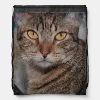 ブラウンの虎猫CATのドローストリングのバックパック ナップサック