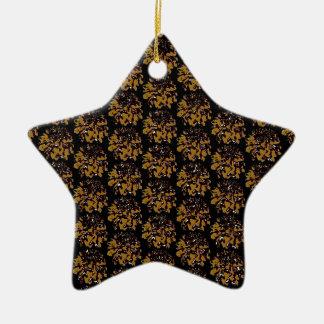 ブラウンの金ゴールドの花のダリアの花模様 陶器製星型オーナメント
