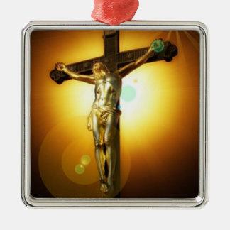 ブラウンの金十字架像のChrismasの陶磁器のオーナメント メタルオーナメント