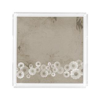 ブラウンの陰によっては正方形のアクリルの皿が開花します アクリルトレー