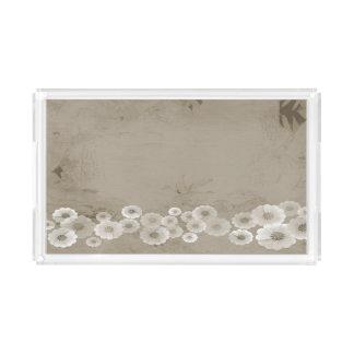 ブラウンの陰によっては長方形のアクリルの皿が開花します アクリルトレー