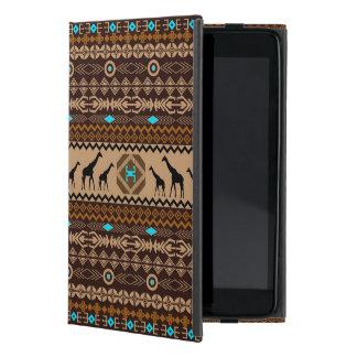 ブラウンの青及びベージュアフリカパターン及びキリン iPad MINI ケース