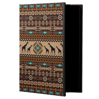 ブラウンの青及びベージュ幾何学的な民族パターン