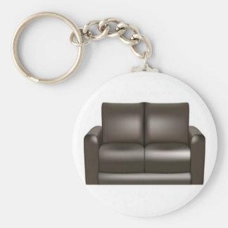 ブラウンの革ソファーのデザイン キーホルダー