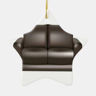 ブラウンの革ソファーのデザイン セラミックオーナメント
