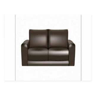 ブラウンの革ソファーのデザイン ポストカード