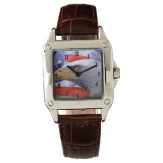 ブラウンの革ワシ 腕時計