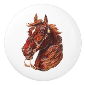 ブラウンの馬のヴィンテージのビクトリアンな動物のポートレートの芸術 セラミックノブ