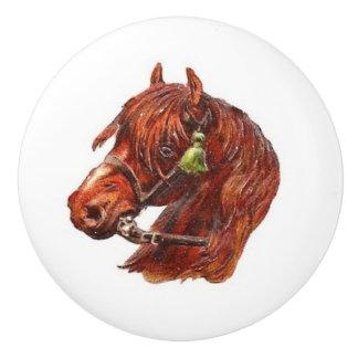 ブラウンの馬のヴィンテージの芸術 セラミックノブ
