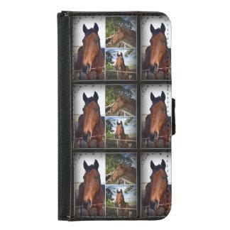 ブラウンの馬の写真のコラージュの銀河系S5の財布 GALAXY S5 ウォレットケース