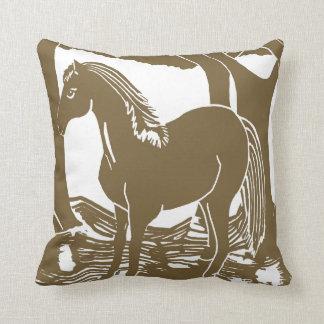 ブラウンの馬の芸術の枕 クッション