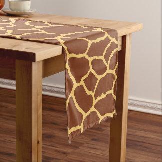 ブラウンの黄色いキリンの皮パターン ショートテーブルランナー