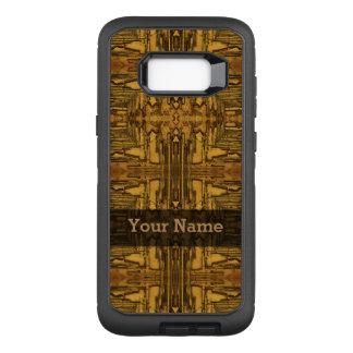 ブラウンの黒く素朴な木製パターン オッターボックスディフェンダーSamsung GALAXY S8+ ケース