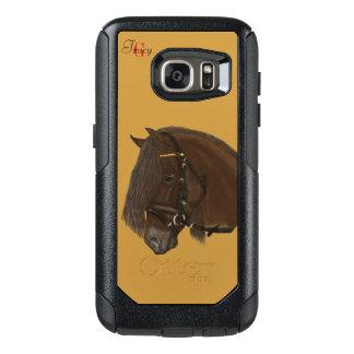 ブラウンのFriesianのばん馬のモノグラム オッターボックスSamsung Galaxy S7ケース