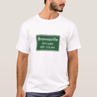ブラウンズヴィルテキサス州の市境の印 Tシャツ