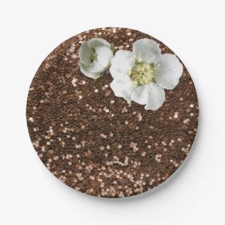 ブラウンチョコレート花の白いジャスミンのグリッター ペーパープレート