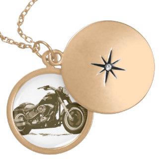 ブラウンハーレーのオートバイ ゴールドプレートネックレス