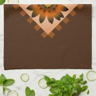 ブラウンペルーのデイジーの花の台所タオル キッチンタオル